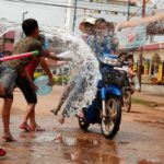 Water throwing to everyone to celebrate Laos New year