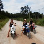 They have learnt how to ride motorbicycle in Laos