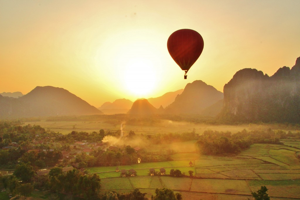 Sunrise balloon over Vang Vieng village
