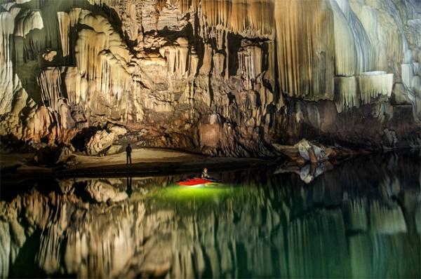 Stone deep inside Thom Khoun Xe Cave