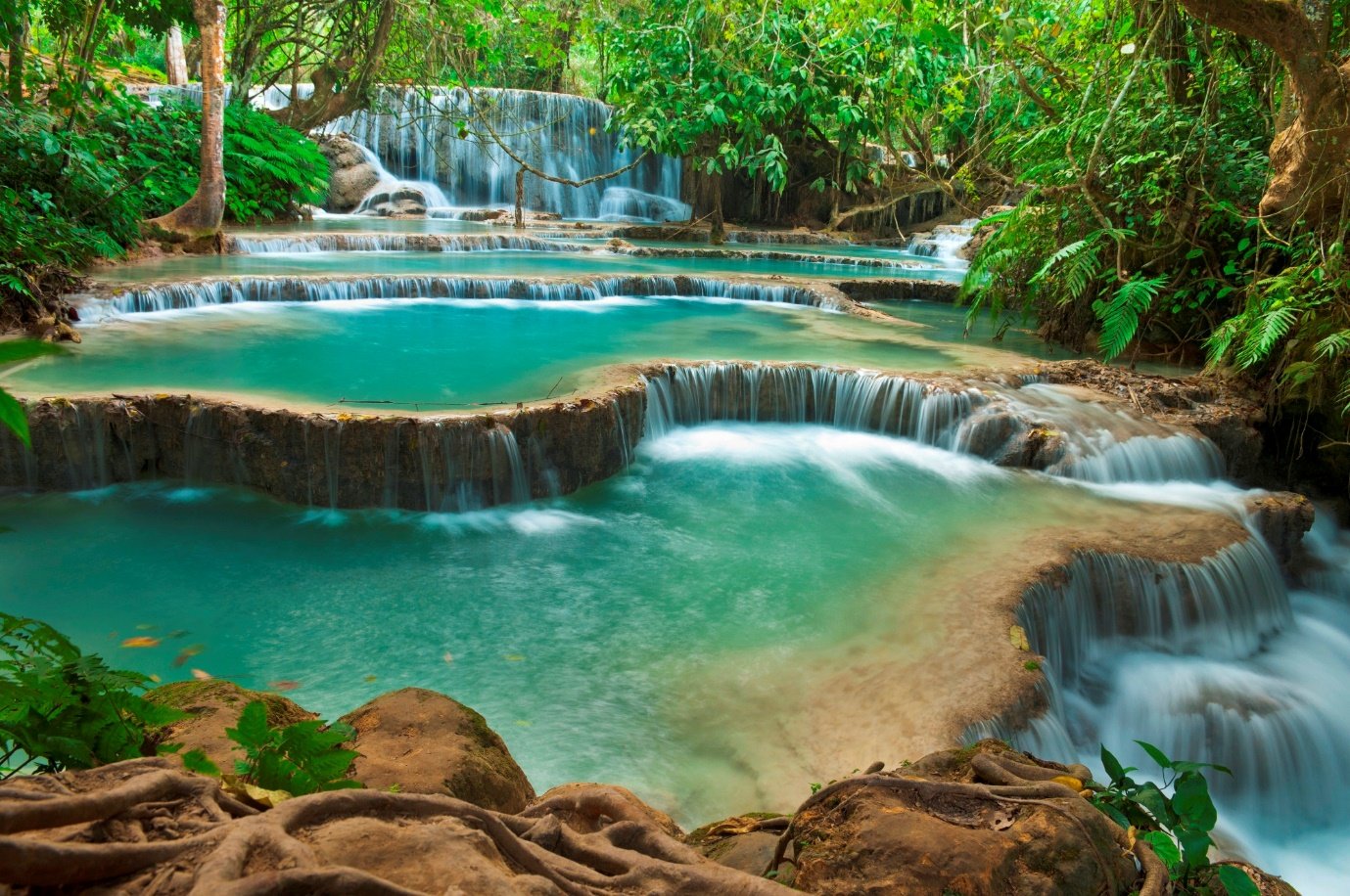 The Kuang Si Waterfall, the most beautiful waterfall in the area